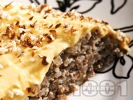 Пудинг десерт от жито и елда с ванилов крем и бадеми